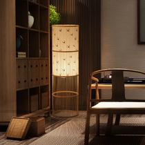 新中式落地灯茶室竹编书房夜灯卧室可调光温馨榻榻米禅意床头灯具