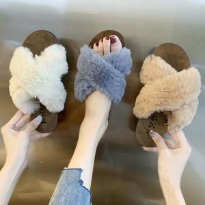 毛毛拖鞋女外穿2019新款兔毛ins潮鞋冬天休闲居家拖鞋社会女鞋子