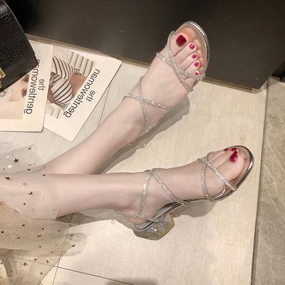 粗跟罗马凉鞋女仙女风2019新款夏季网红百搭一字带水钻中跟高跟鞋