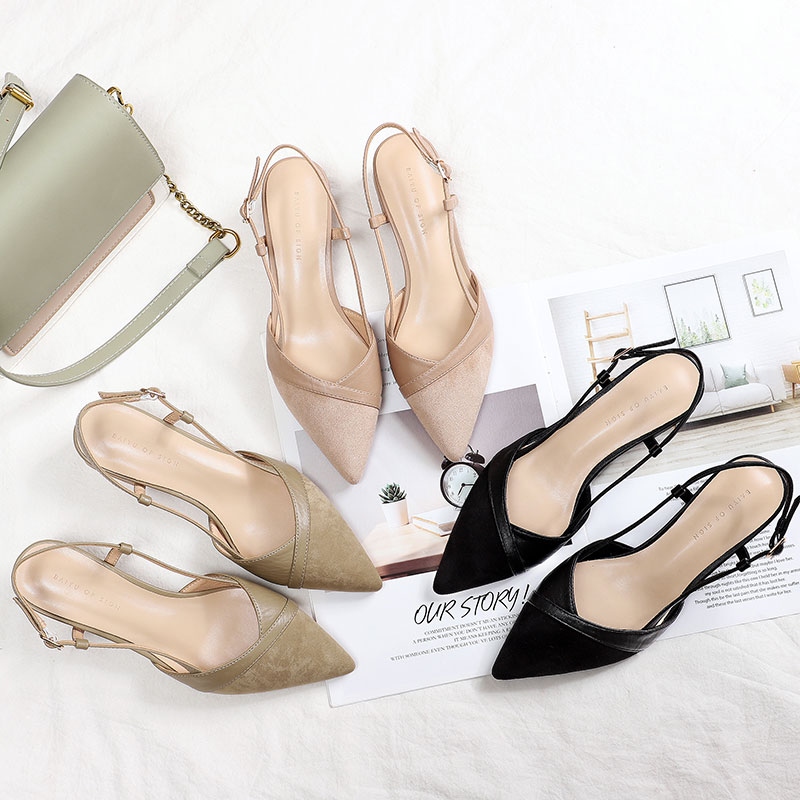 2020 womens bag head thick heel sandals fairy little fragrance single shoes pointed middle heel shoes back empty buckle French