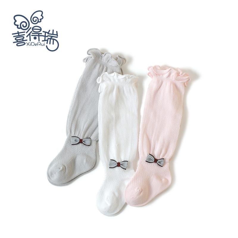 春秋季纯棉松口新生儿高筒夏长筒袜