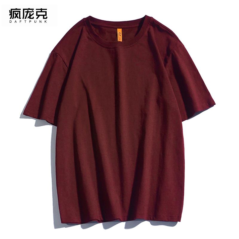 ulzzang纯棉短袖t恤男女ins潮酒红色cec超火百搭宽松显瘦半袖上衣