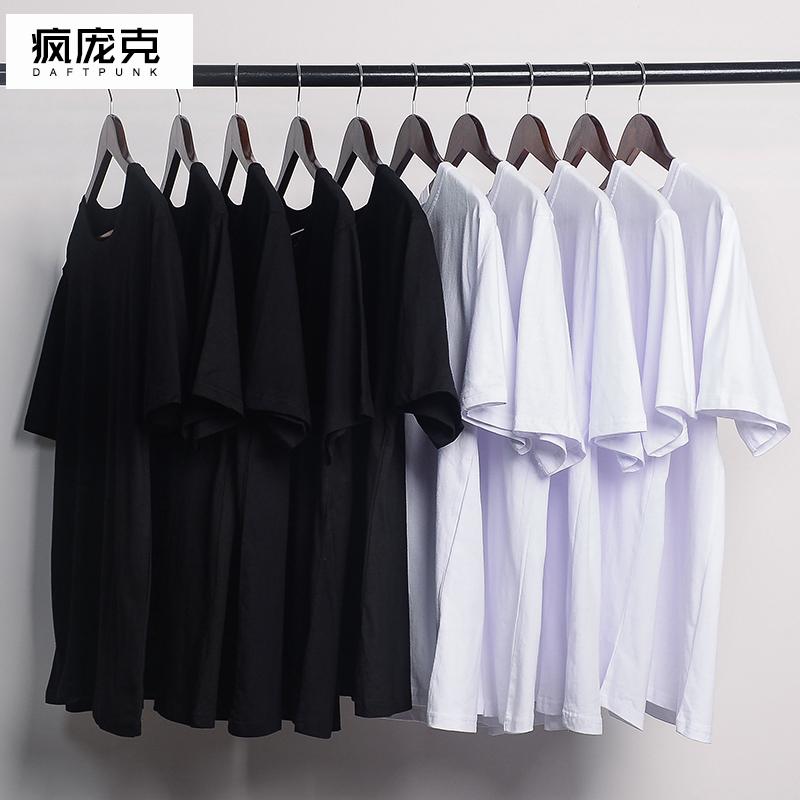 日本纯棉纯色短袖打底衫T恤白色男女体恤纯黑潮流半袖衣服丅上衣