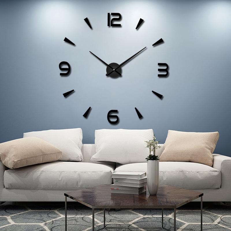 免打孔diy挂钟钟表客厅现代简约时钟3D立体有机玻璃创意艺术墙表 Изображение 1