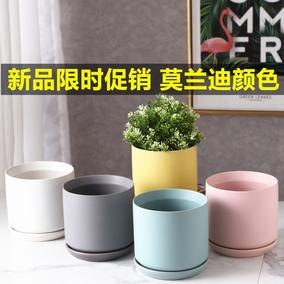 陶瓷ins风正方形圆柱形哑光花盆