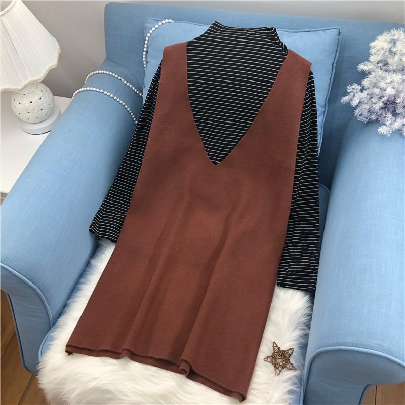 韩版显瘦200斤大码女装加肥大连衣裙打底衫针织背心裙长款两件套