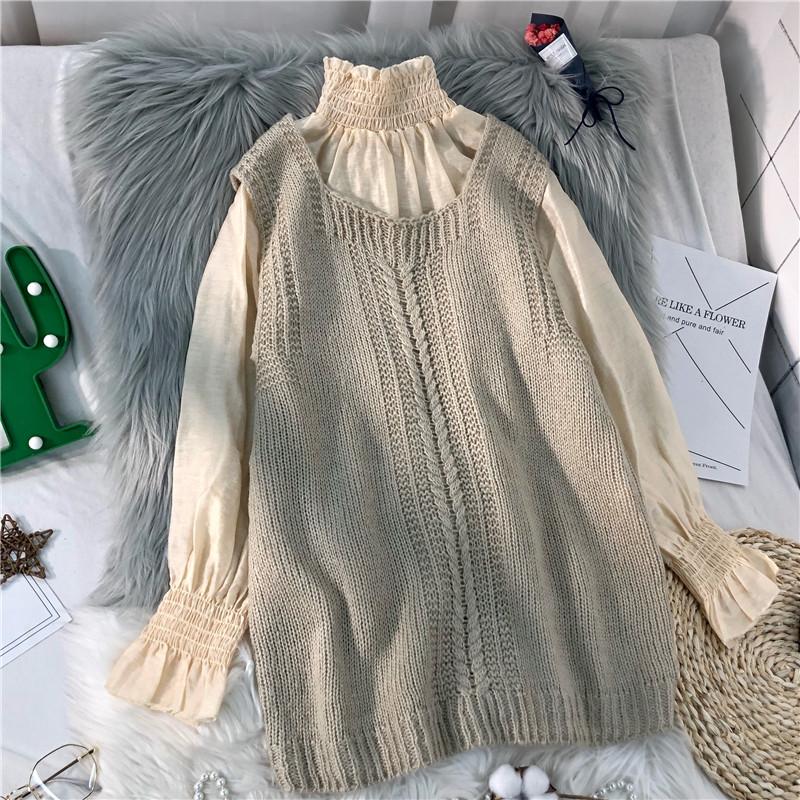 春秋毛衣针织背心马甲女两件套韩版宽松荷叶袖下摆开叉内搭雪纺