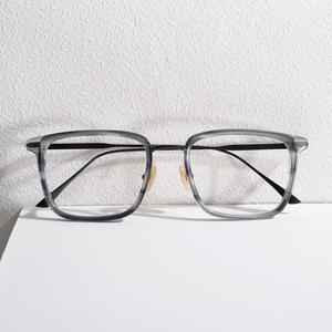 日本商务复古手工方框防蓝光女可配有度数近视超轻纯钛男眼镜框架