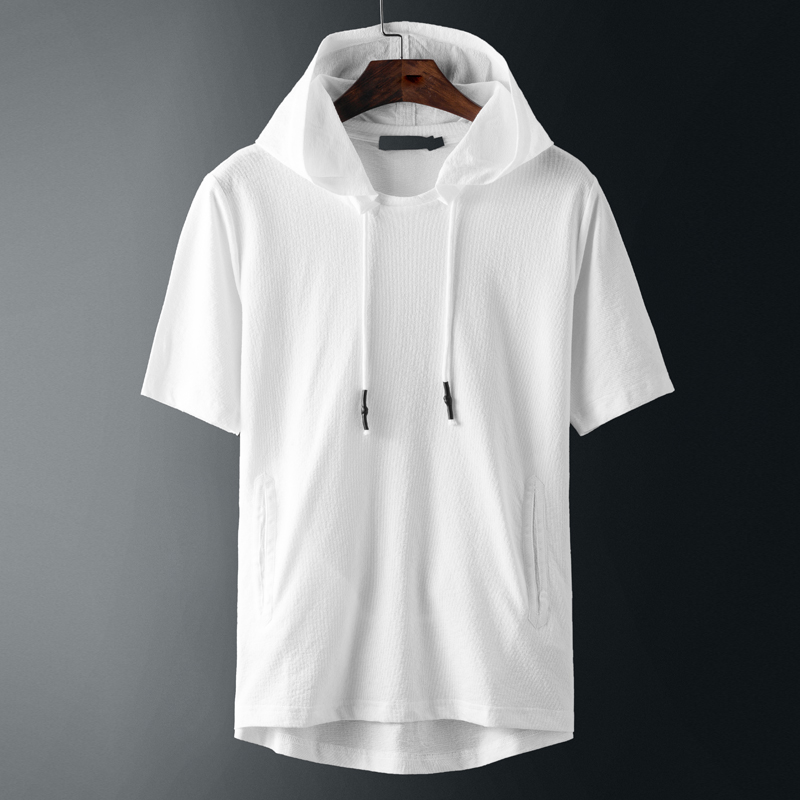 Summer white hooded short sleeve t-shirt men's fashion brand loose hooded half sleeve sweater trend Korean T-Shirt Top