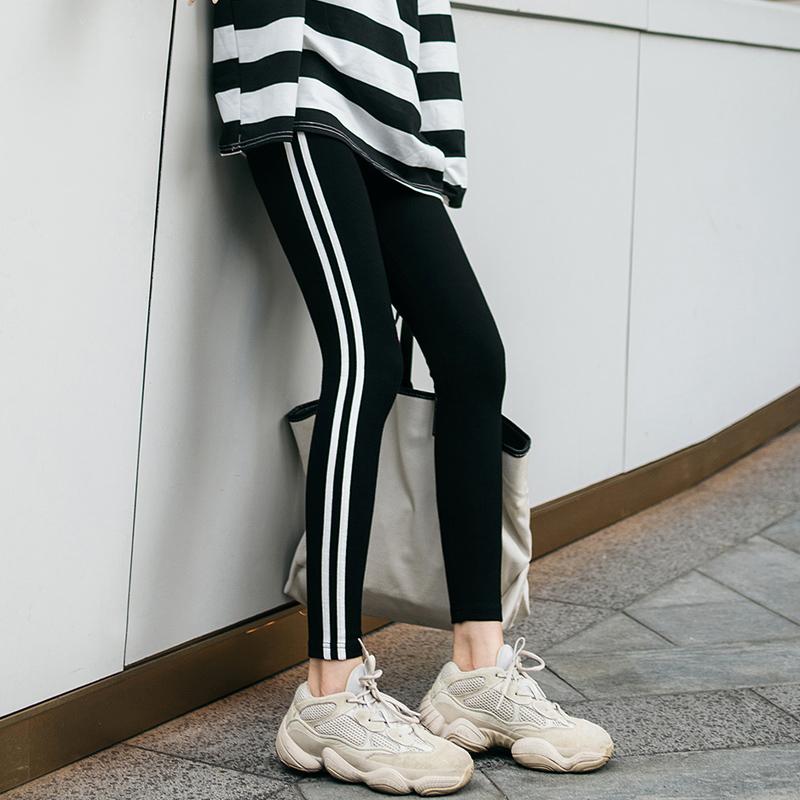 棉打底裤女外穿九分黑色加绒春秋厚款白边条纹修身显瘦运动裤弹力图片