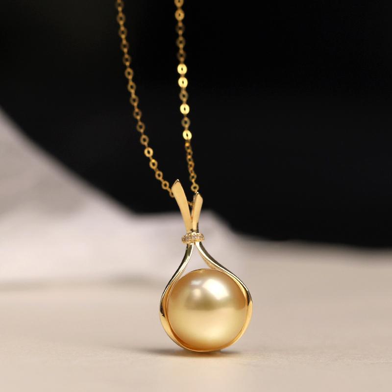 【蒂梵】寓意。天然颜色南洋金珠海水珍珠18k金钻石福袋吊坠项链