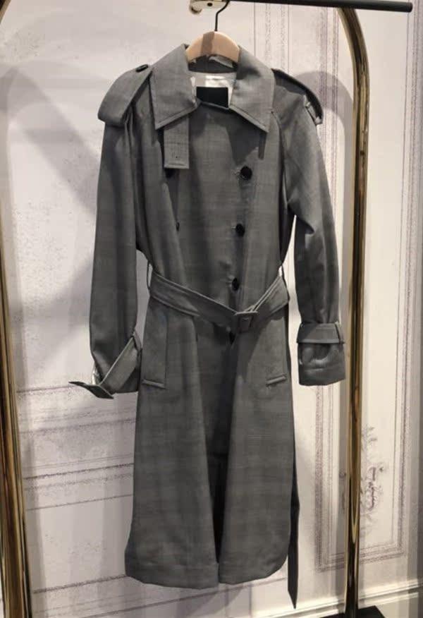 【摩登家】2018秋款 英伦风双排扣收腰中长款风衣外套MA183TRC101