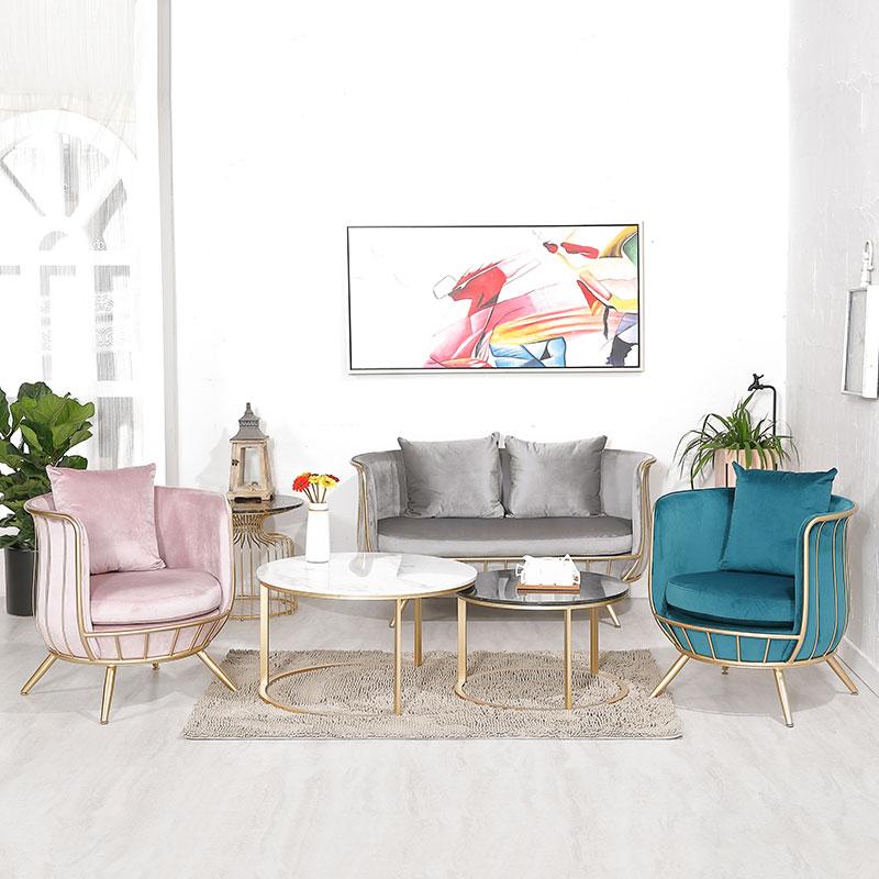 北欧网红铁艺酒店沙发双人美容院美甲店现代简约设计师轻奢单人椅
