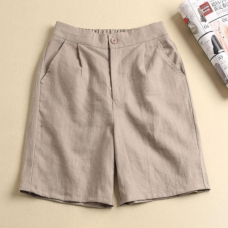 韩版短裤女夏季新款亚棉裤子女宽松高腰显瘦大码阔腿休闲五分裤女