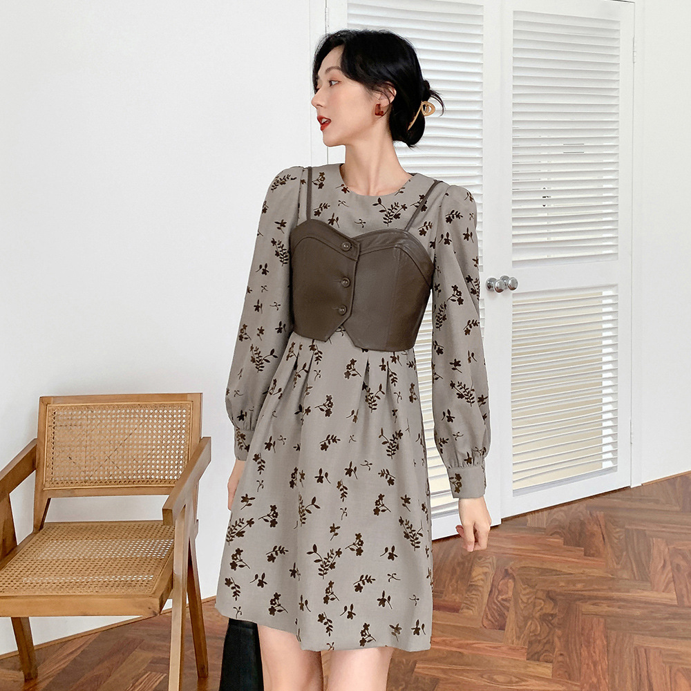 2020 Korean autumn and winter new simple fashion flower long sleeve dress + Leather Vest two piece set l066