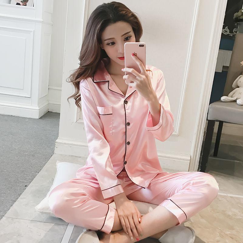 春秋季睡衣女冰丝长袖韩版薄款两件套装可外穿性感新款大码家居服