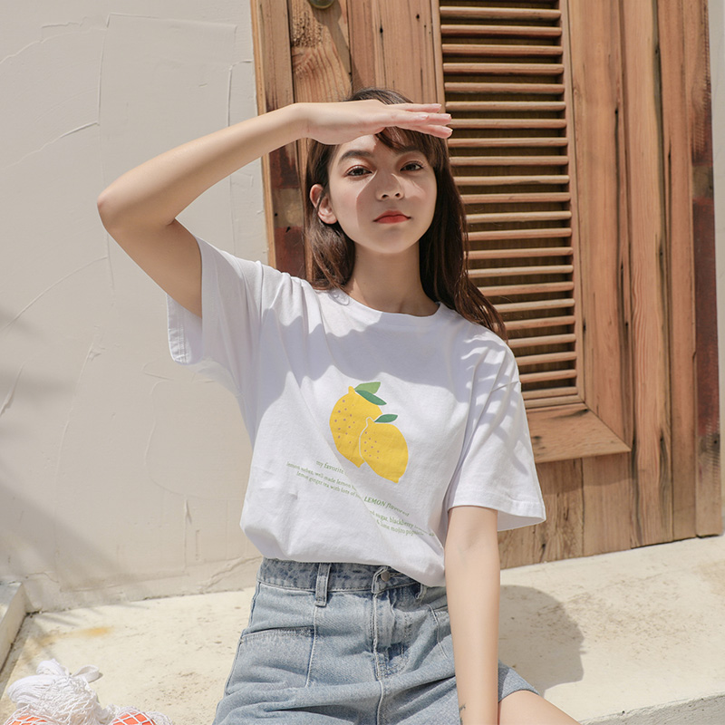 (用43.1元券)lrud白色2019夏季新款韩版宽松t恤