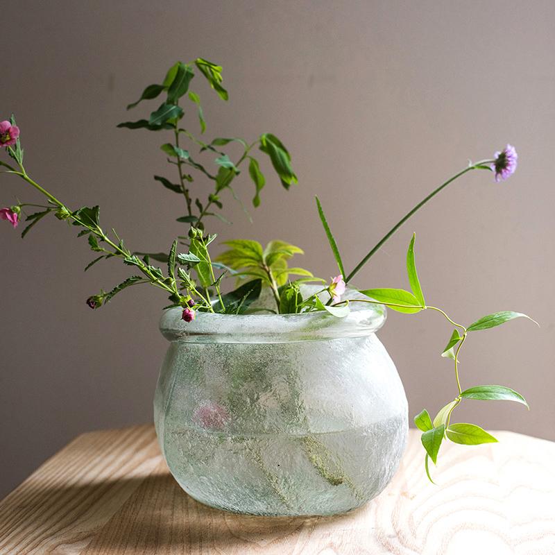 掬涵 手工艺术玻璃器皿花瓶花器装饰摆件磨砂雾面北欧日式禅意