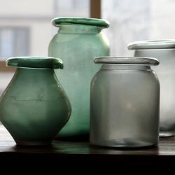 掬涵 大玻璃花瓶艺术玻璃器皿手工吹制拉制软装饰美式粗放JUHAN
