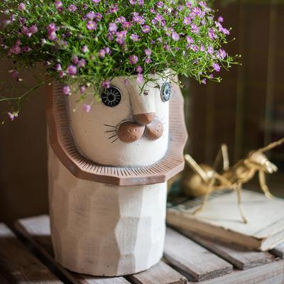 掬涵 抽象狮子花器 艺术装饰花盆 土培盆栽创意收纳礼物二次元