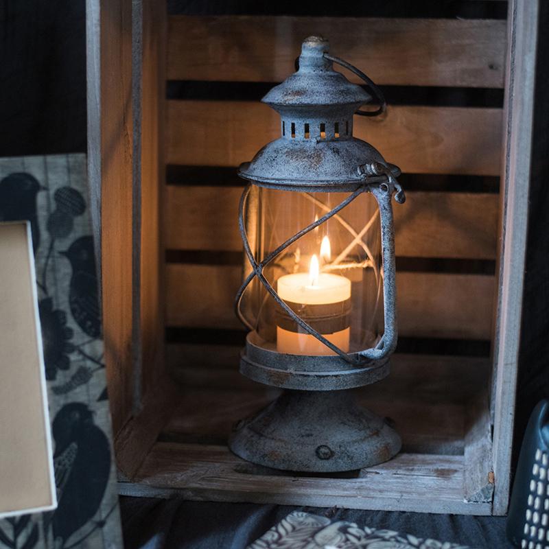 掬涵欧式复古铁艺风灯油灯花园烛台