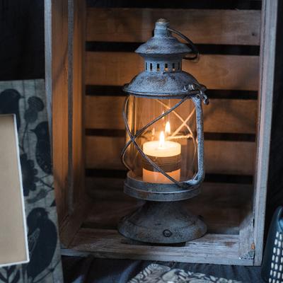 掬涵 欧式复古铁艺烛台 风灯油灯小提灯 装饰摆件花园杂货道具