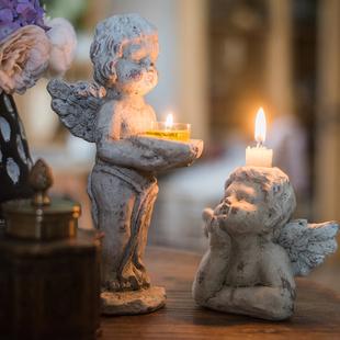 掬涵 天使烛台 装饰摆件 杂货花园庭院复古文艺欧式丘比特礼物