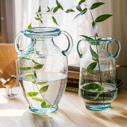 掬涵 经典奖杯玻璃瓶 透明气泡手工艺术花器花瓶花壶北欧古典