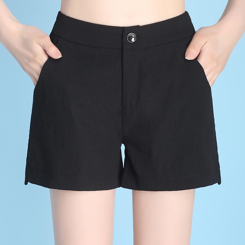 艾魅媛宽松短裤女夏薄款裤子2018夏季新款韩版直筒阔腿裤黑色热裤