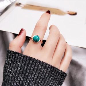 韩国唯美复古人造绿松石戒指女食指环戒子镀18K玫瑰金钛钢首饰品