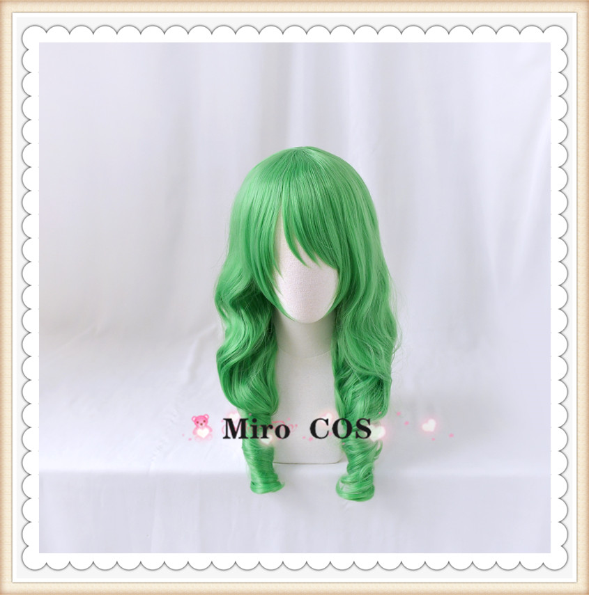 Role play of flame crest, flower and snow moon + lotus Cosplay wig green roll cos false hair
