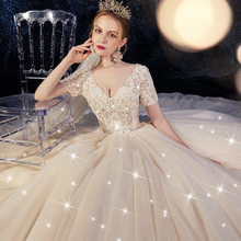 Korean main wedding dress 2019 Bridal Dress Small Mori tail luxury tremolo net Red Star Sky