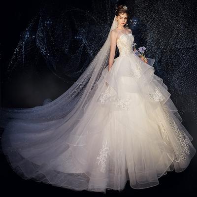 星空婚纱2020新款新娘拖尾奢华森系超仙梦幻小个子简约婚纱裙法式