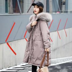小个子羽绒服女中长款白鸭绒2020新款爆款韩版宽松大毛领冬装过膝