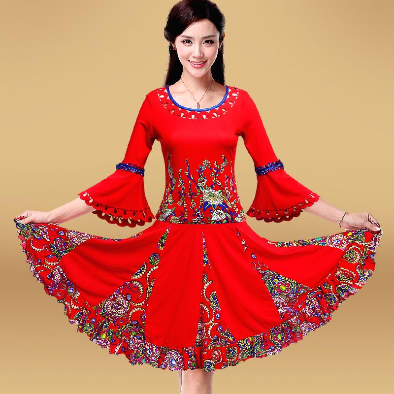 纤伽广场舞服装新款套装2019春夏季短袖中老年女舞蹈跳舞衣服裙子