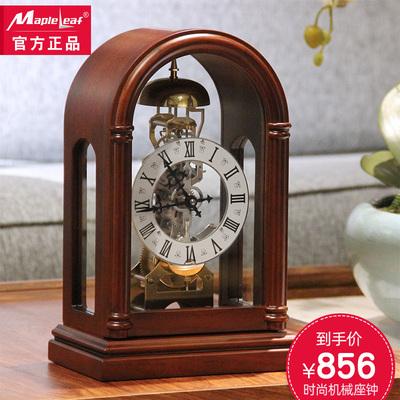 枫叶机械座钟 创意仿古台钟 实木欧式复古坐钟 中式客厅奢华钟表