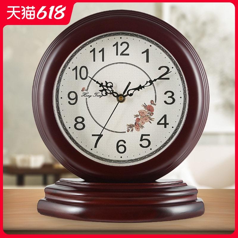 简约客厅座钟创意田园艺术钟表中式木质卧室石英时钟品质静音摆件 Изображение 1