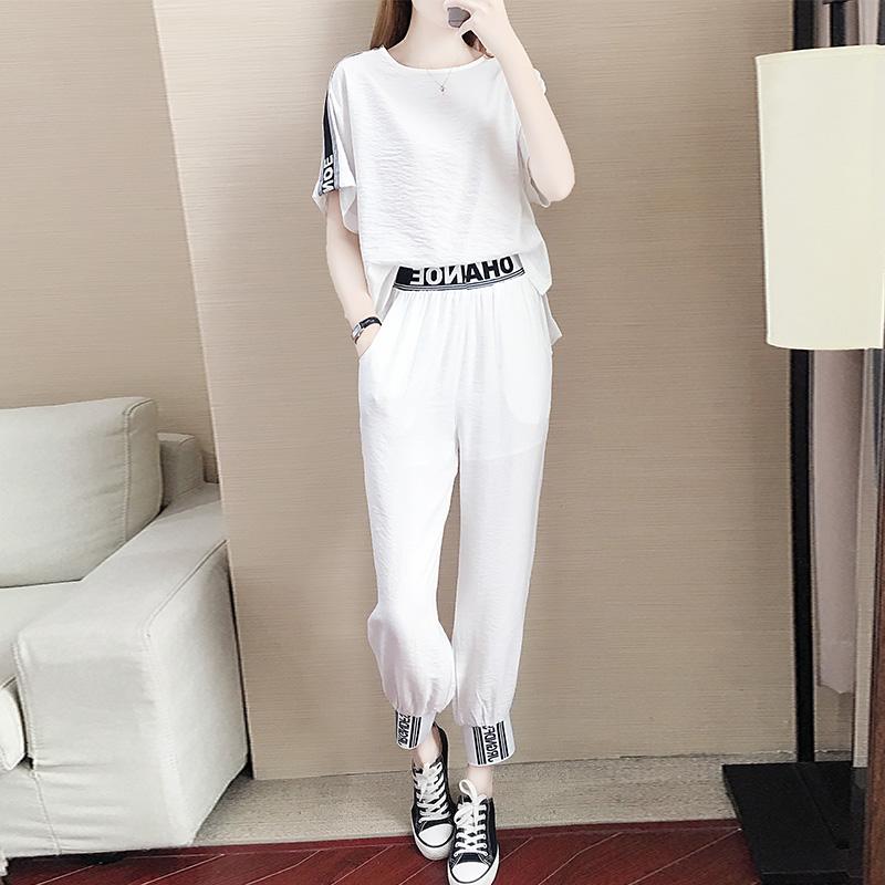 时尚白色运动风套装女ins洋气短袖夏装2020新款小香风休闲两件套