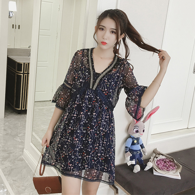 Palm customized Europe station new summer 2017 floral horn sleeve nail bead V-neck chiffon dress womens loose fitting