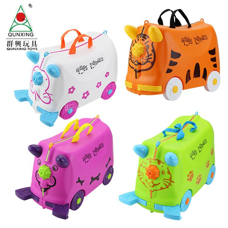 Qunxing genuine package mail childrens suitcase storage box boarding chassis taxicab luggage can sit and ride travel