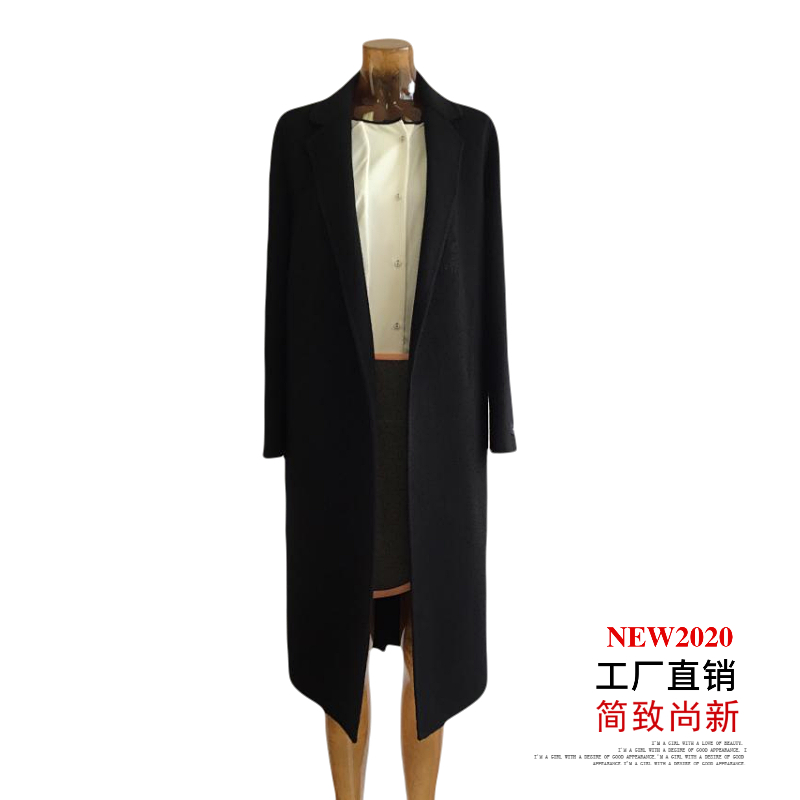 Autumn / winter 2020 new womens simple and slim suit collar medium length double side hand sewn cashmere coat woolen coat