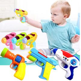 1-2-3岁小孩迷你投影电动枪声光男孩塑料手枪儿童警察宝宝玩具枪