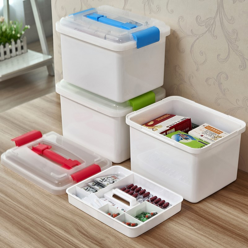 Fully sealed household medicine box large multi-layer first aid box health care box family storage box household medical box