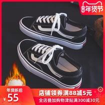 复刻黑色低帮帆布鞋女1970s韩国街拍万年经典款百搭复古许刘芒