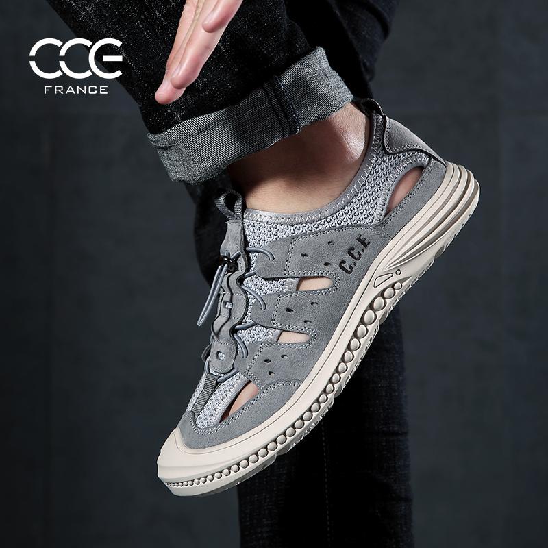 法国CCE男士凉鞋夏季新款真皮洞洞鞋休闲透气防滑户外包头沙滩鞋