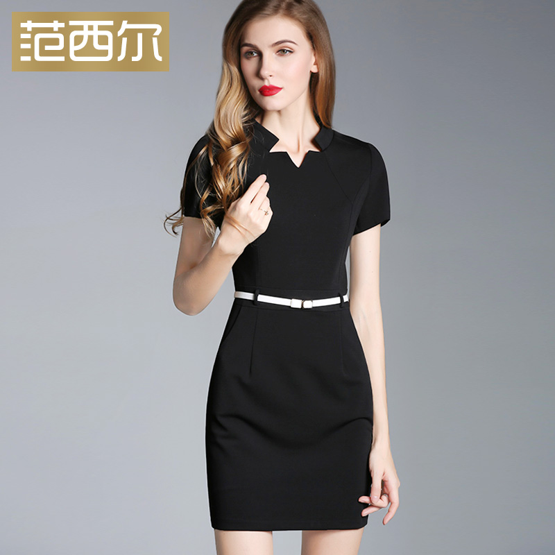 Fansil summer dress new Korean womens V-neck short sleeve celebrity show thin professional dress bag hip dress summer