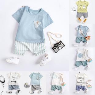 短袖 小孩夏季 男童套装 男宝宝夏装 1一5岁潮帅小童装 幼儿童婴儿衣服