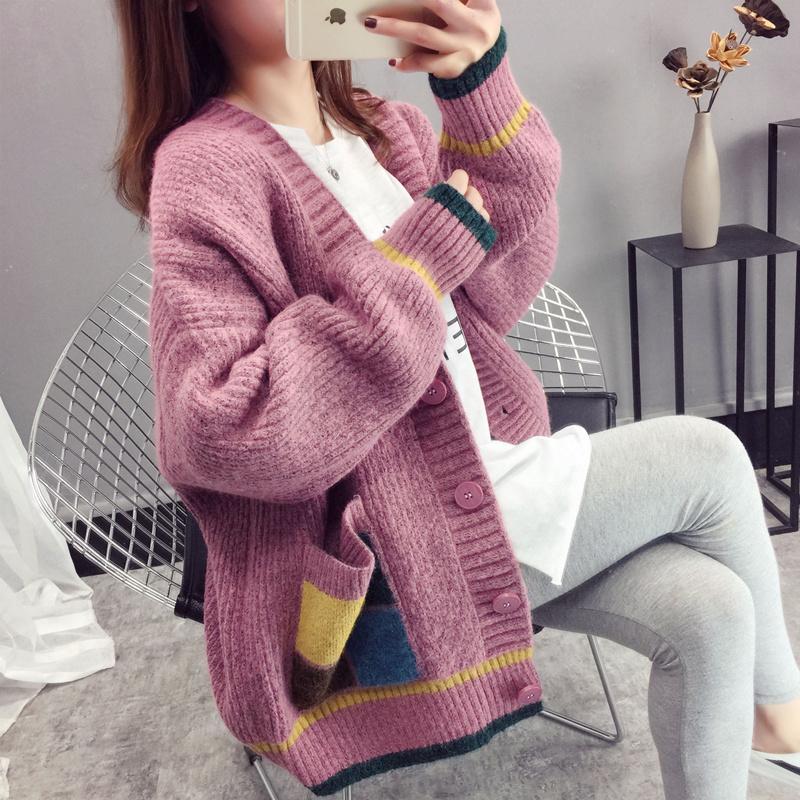 2019春装新款韩版V领慵懒风纯色针织百搭口袋毛衣开衫女外套上衣