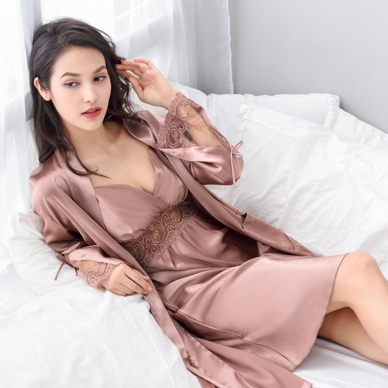 性感蕾丝睡衣女夏秋季真丝绸吊带睡裙两件套装冰丝睡袍胖MM大码冬