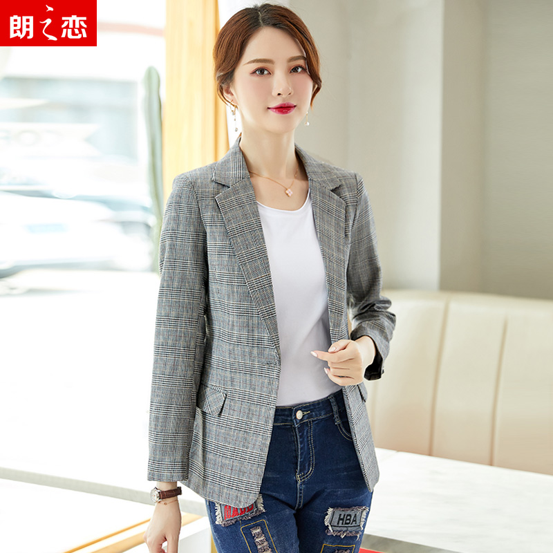 Net red Blazer coat womens Korean version loose 2019 spring and Autumn New Womens fashion slim Plaid suit top